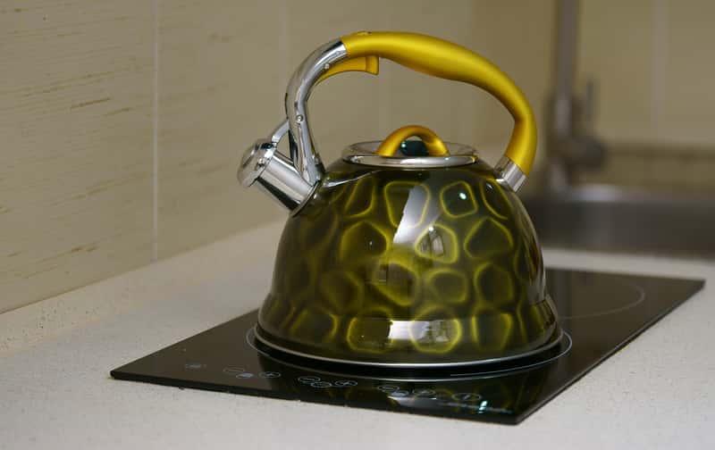 Zielony czajnik na płytę indukcyjną z żółtą rączką. Porady dotyczące wyboru.