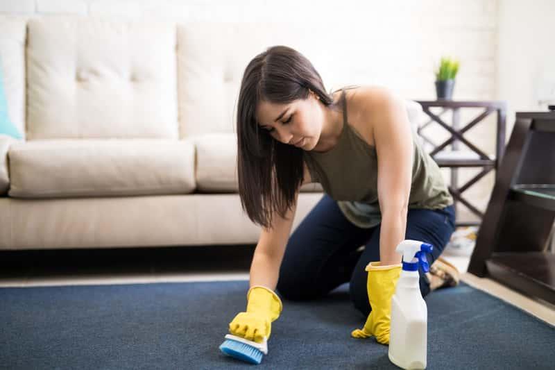 Kobieta podczas czyszczenia dywanu