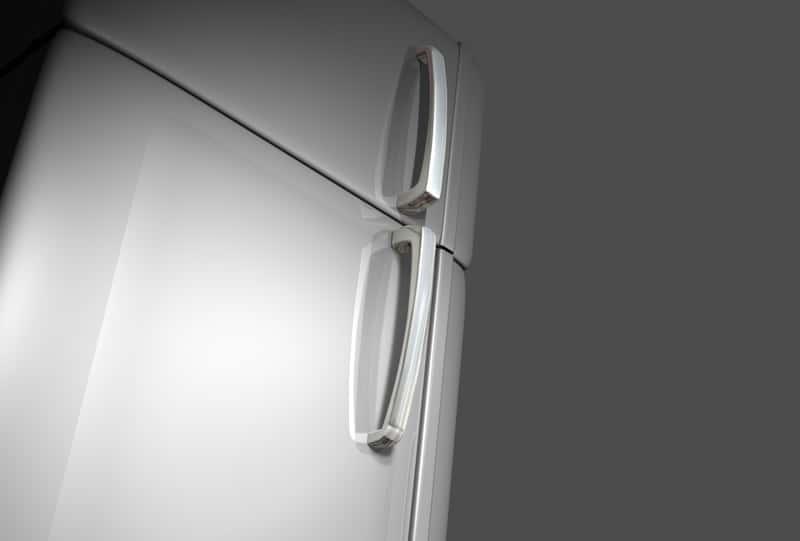 Zamknięte drzwi lodówki Bosch w kolorze szarym na tle ściany, która posiada swoje wady i zalety i w przewadze pozytywne opinie