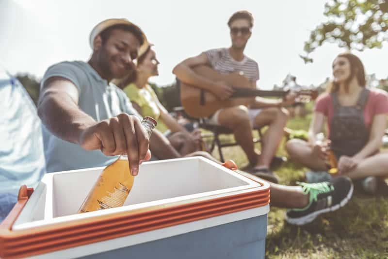 Grupa przyjaciół i analogowa lodówka turystyczna z chłodzonymi napojami na pierwszym tle
