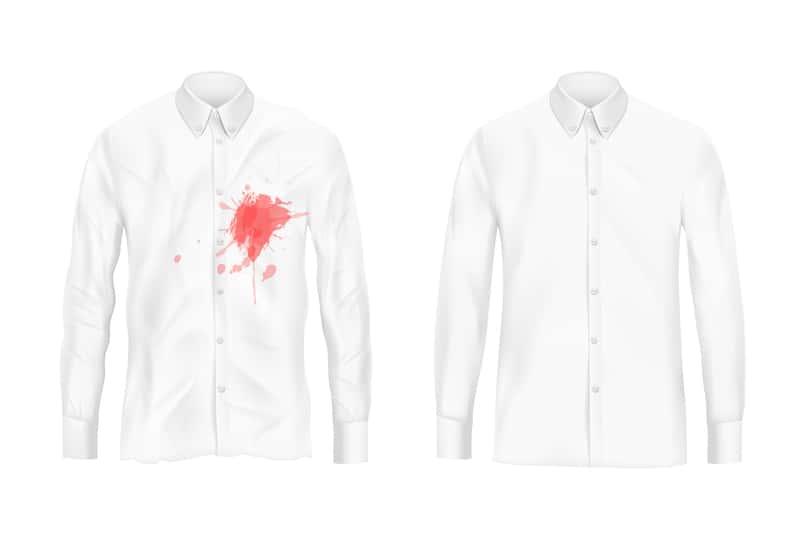 Poplamiona krwią i czysta koszula
