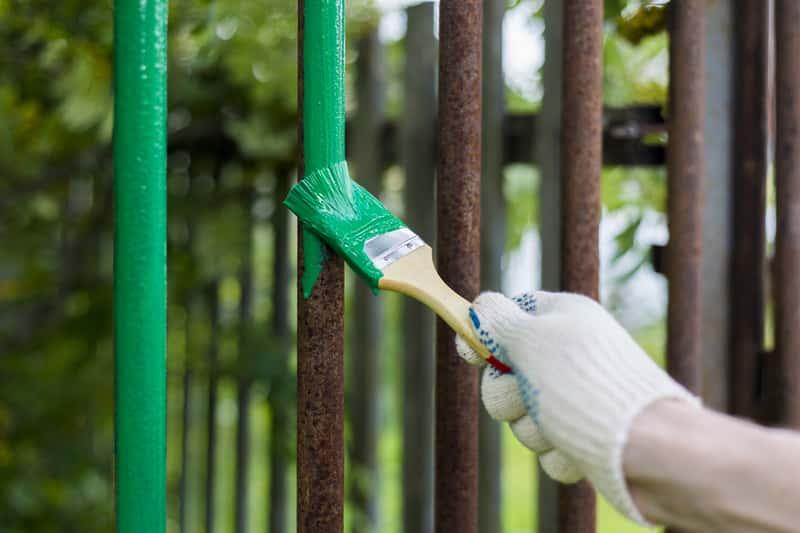 Malowanie płotu zieloną farbą