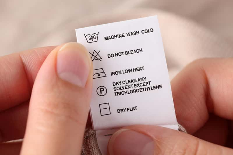 Metka z symbolami prania