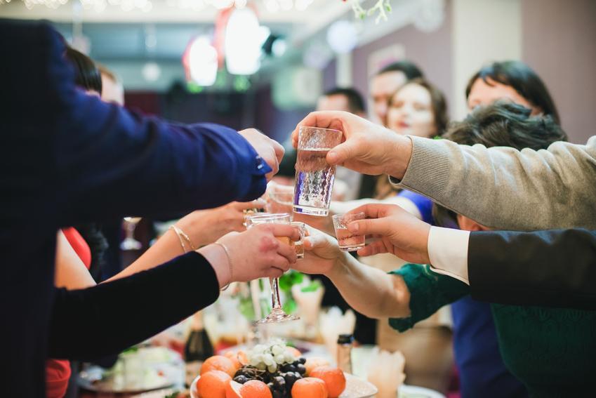 Goście na weselu wznoszący toast, czyli porady jaka wódka na wesele