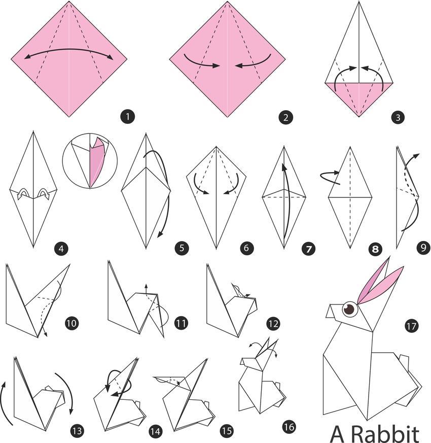 Zając origami instrukcja krok po kroku oraz inne ozdoby wielkanocne z papieru