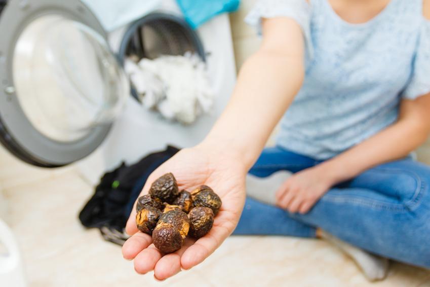 Kobieta przy pralce trzymająca orzechy do prania oraz porady jak stosować orzechy piorące