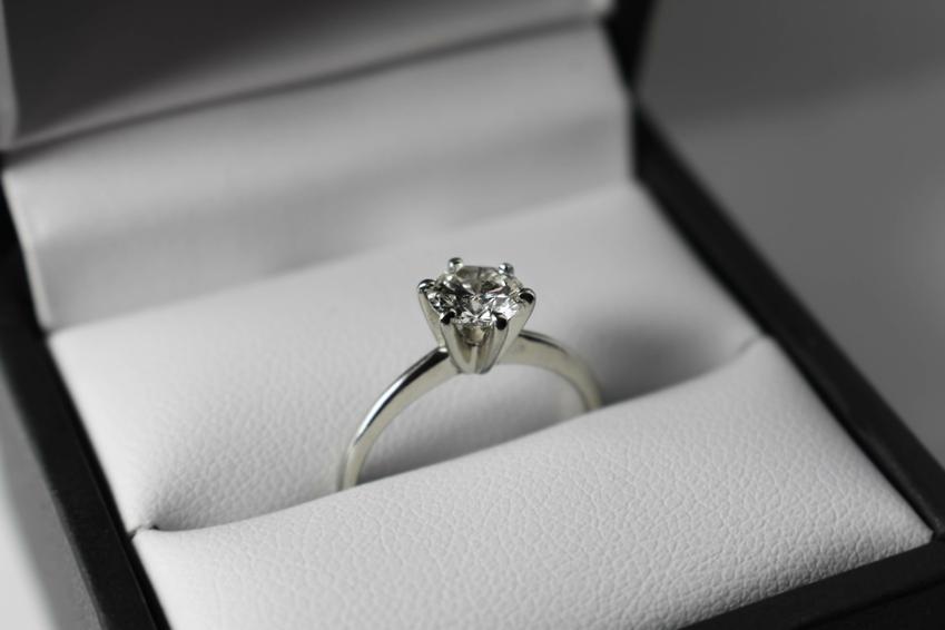 Pierśnionek zaręczynowy w pudełeczku, a także na której ręce nosi się pierścionek zaręczynowy
