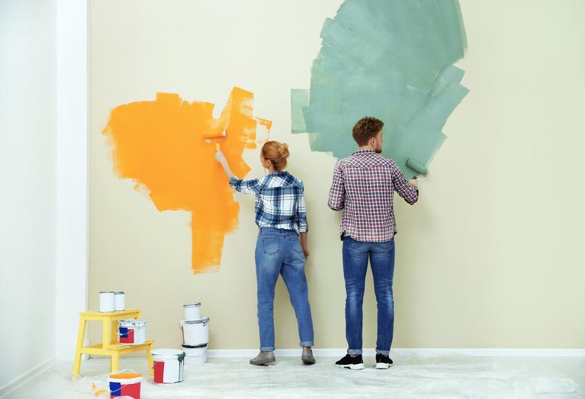 Para podczas malowania ściany na kolorowo, a także opinie o farbach magnat na forum
