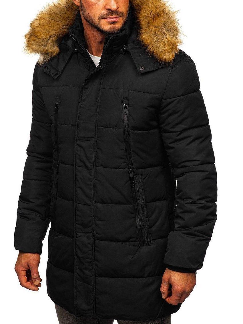 Zimowa kurtka puchowa męska o przedłużanym kroju parki