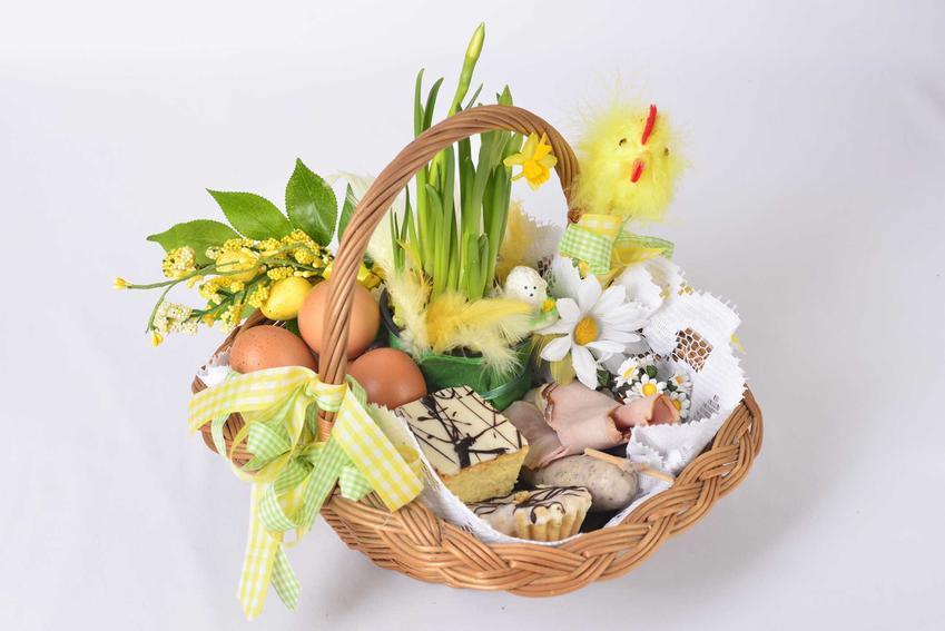 Koszyczek wielkanocny, czyli świeconka, z ciastem, pisankami i jajkami, a także co wkładamy do koszyczka wielkanocnego