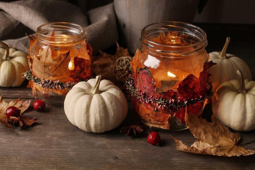 Stroik jesienny ze świeczkami w słoikach, a także najpiękniejsze stroiki jesienne krok po kroku - jak je zrobić