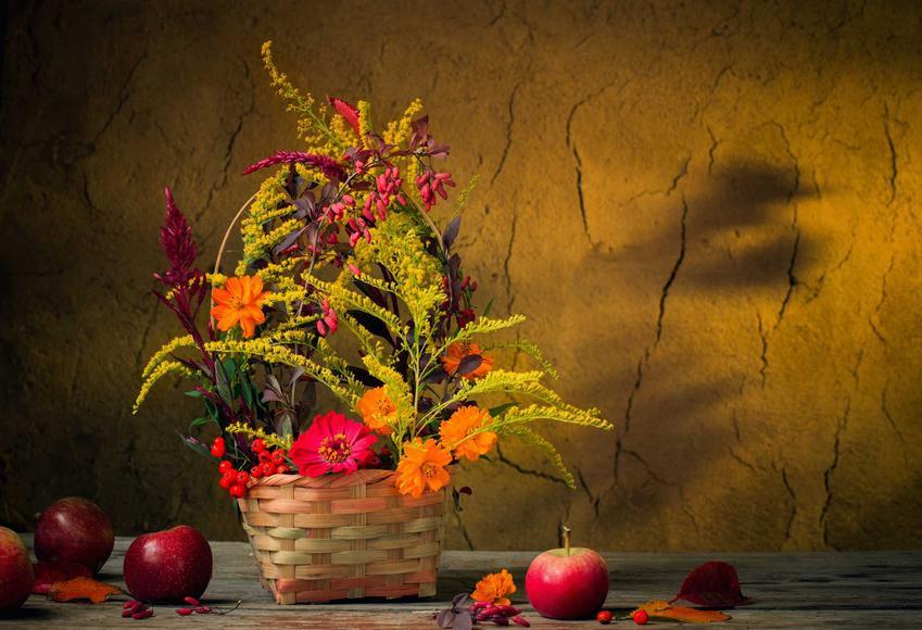 Kompozycja jesiennych kwiatów i mimozy w koszyczku na stole, a także inne pomysły na najpiękniejsze stroiki jesienne