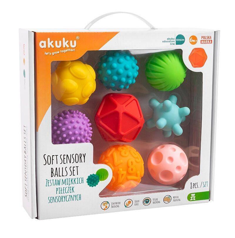 Miękkie piłki sensoryczne różne kształty i dźwięki Akuku