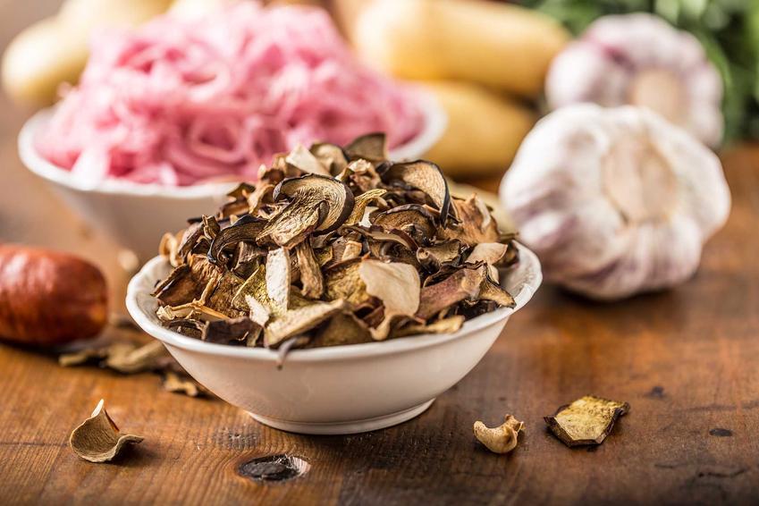 Suszone grzyby w misce oraz suszenie grzybów w piekarniku, czyli ile czasu i jak długo suszyć grzyby